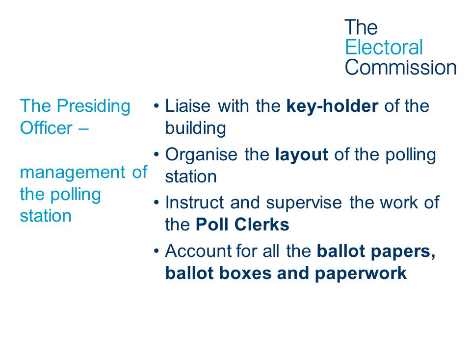 Health and safety never put the safety of anyone inside the polling station at risk be aware to any potential risks to safety inspect the premises regularly if hazards are discovered – find a remedy if an accident occurs – follow procedures be careful when lifting heavy objects
