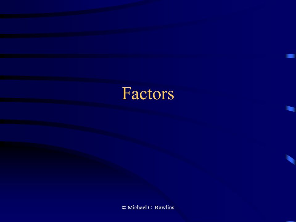 © Michael C. Rawlins Factors