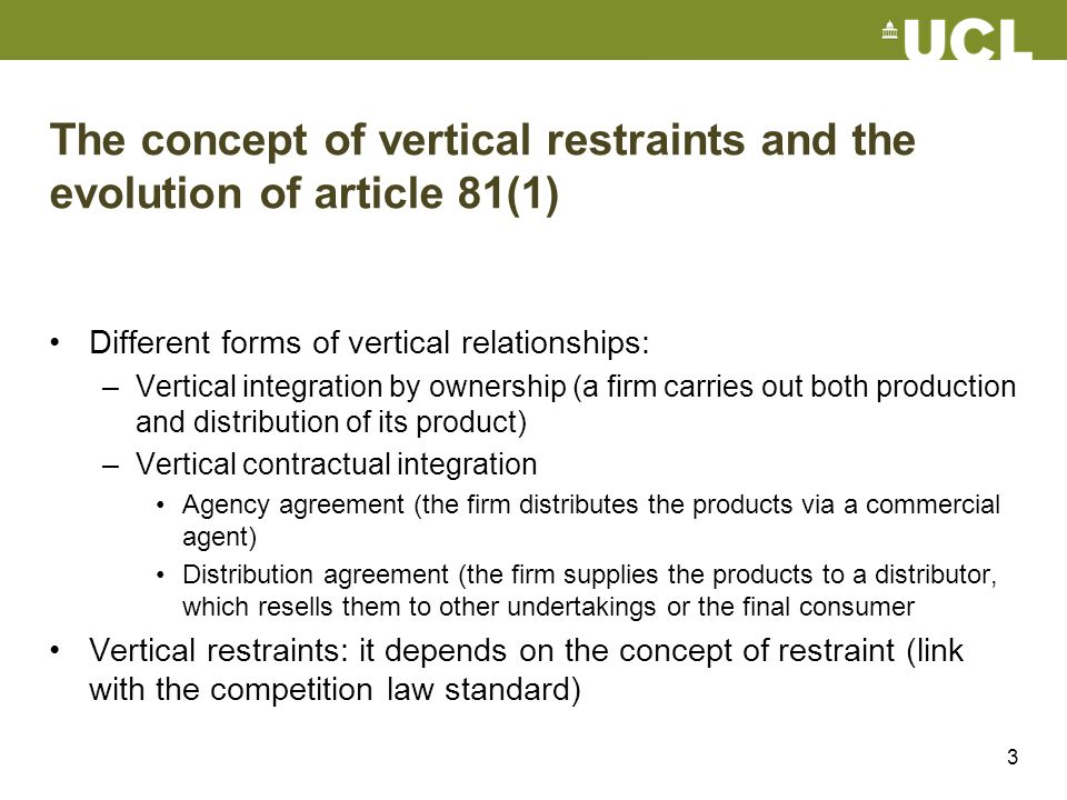 3 The concept of vertical restraints and the evolution of article 81(1) Different forms of vertical relationships: –Vertical integration by ownership