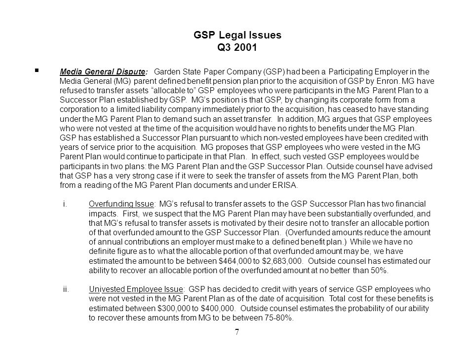 6 GSP Balance Sheet September 30, 2001 $ million December 31, 2001 Forecast $ million ASSETS Current Assets$20.2 Fixed Assets$65.9 Other Assets($5.8)