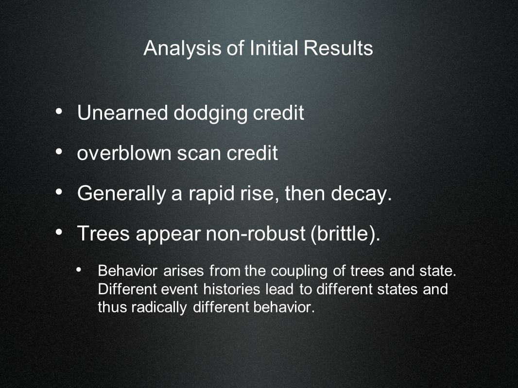 Analysis of Initial Results Unearned dodging credit overblown scan credit Generally a rapid rise, then decay.