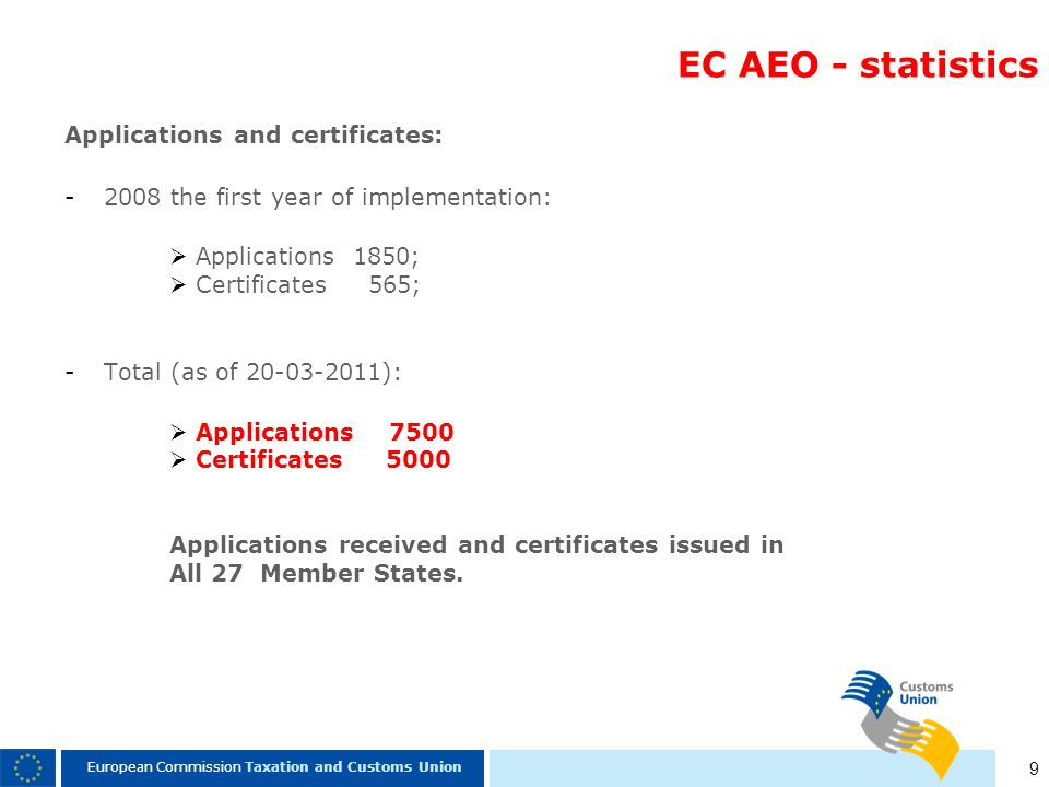 9 European Commission Taxation and Customs Union EC AEO - statistics Applications and certificates: -2008 the first year of implementation: Applicatio