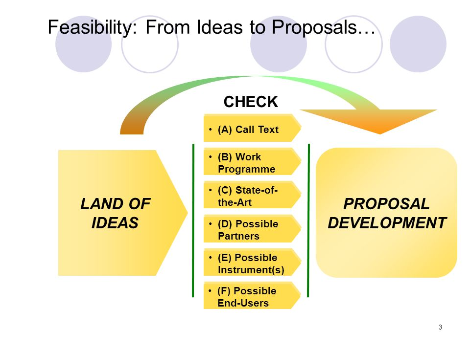 4 Feasibility: End Phase Checklist By the end of this stage you must have a clear appreciation of Your capabilities and resources Capabilities and resources needed from partners Possible partners – you must have already made initial contacts Size – rough budget, number of partners, likely duration Risks Roles – esp.