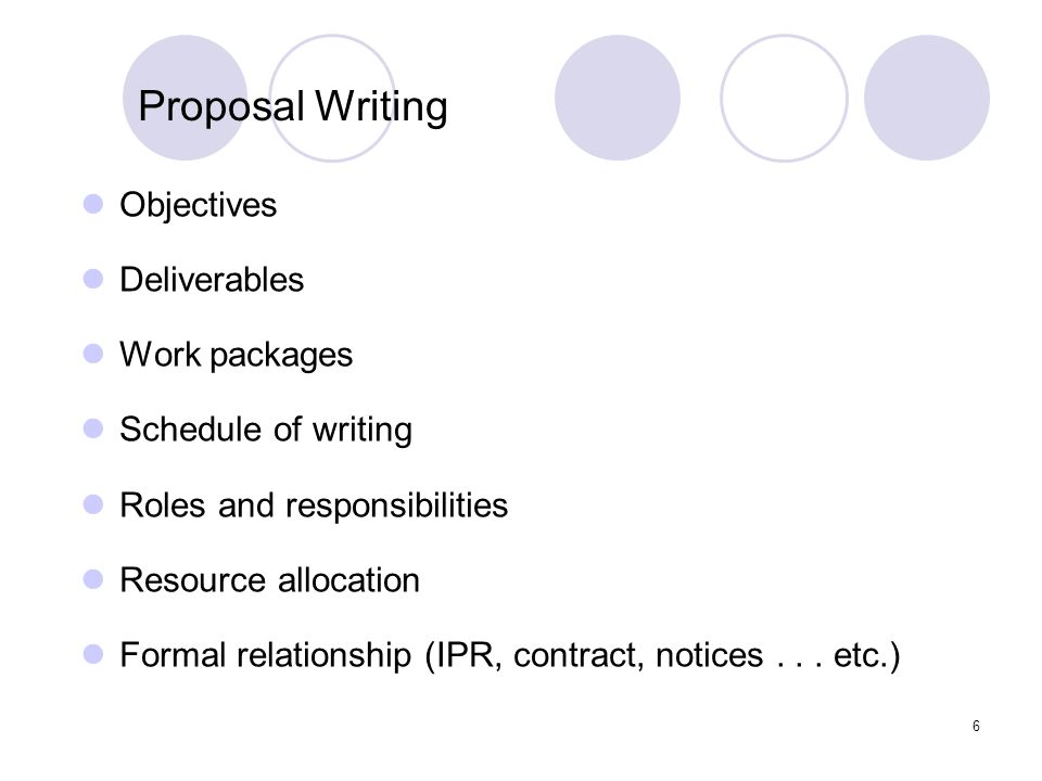 6 Objectives Deliverables Work packages Schedule of writing Roles and responsibilities Resource allocation Formal relationship (IPR, contract, notices