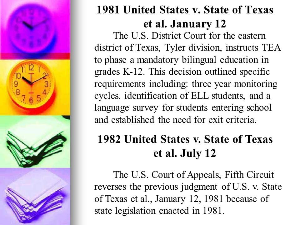 1981 United States v. State of Texas et al. January 12 The U.S. District Court for the eastern district of Texas, Tyler division, instructs TEA to pha