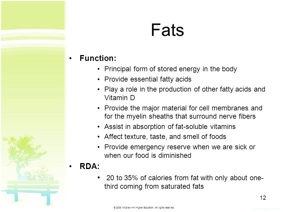© 2009 McGraw-Hill Higher Education. All rights reserved. 12 Fats Function:Function: Principal form of stored energy in the bodyPrincipal form of stor