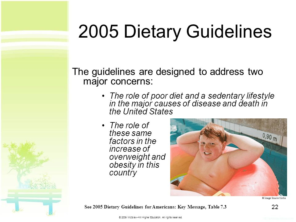 © 2009 McGraw-Hill Higher Education. All rights reserved. 22 2005 Dietary Guidelines The guidelines are designed to address two major concerns: The ro