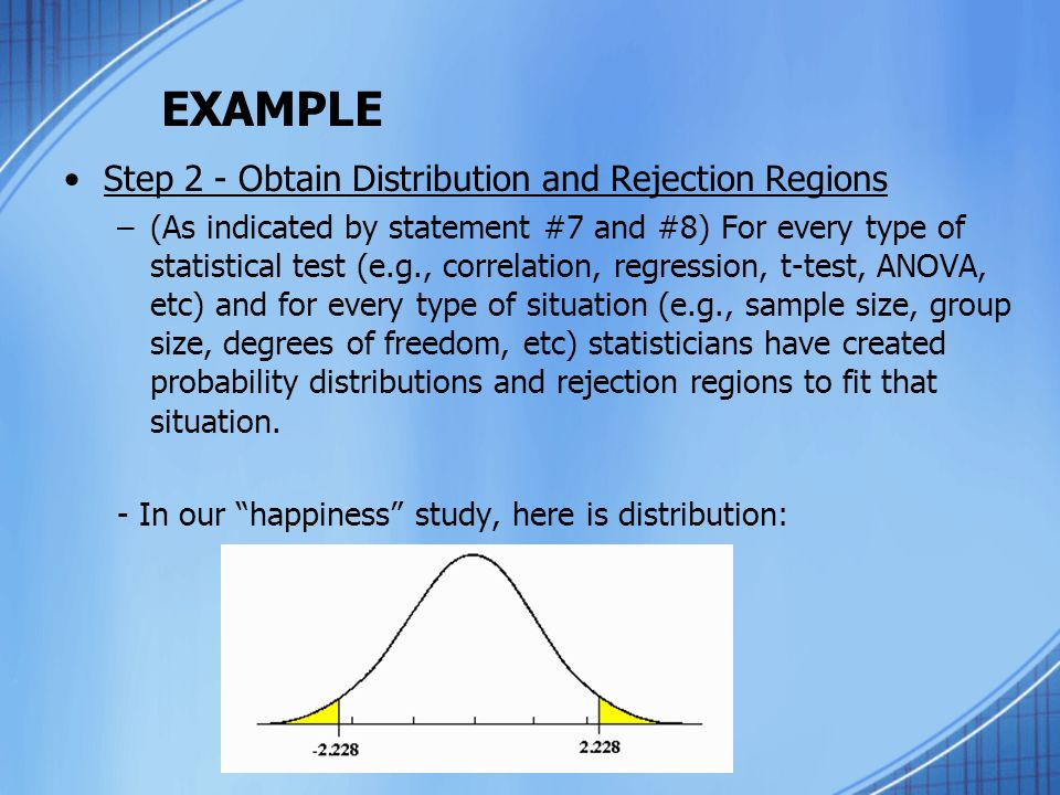 EXAMPLE Step 2 - Obtain Distribution and Rejection Regions –(As indicated by statement #7 and #8) For every type of statistical test (e.g., correlation, regression, t-test, ANOVA, etc) and for every type of situation (e.g., sample size, group size, degrees of freedom, etc) statisticians have created probability distributions and rejection regions to fit that situation.