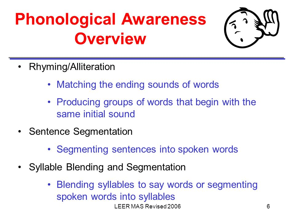 LEER MAS Revised 20066 Phonological Awareness Overview Rhyming/Alliteration Matching the ending sounds of words Producing groups of words that begin w