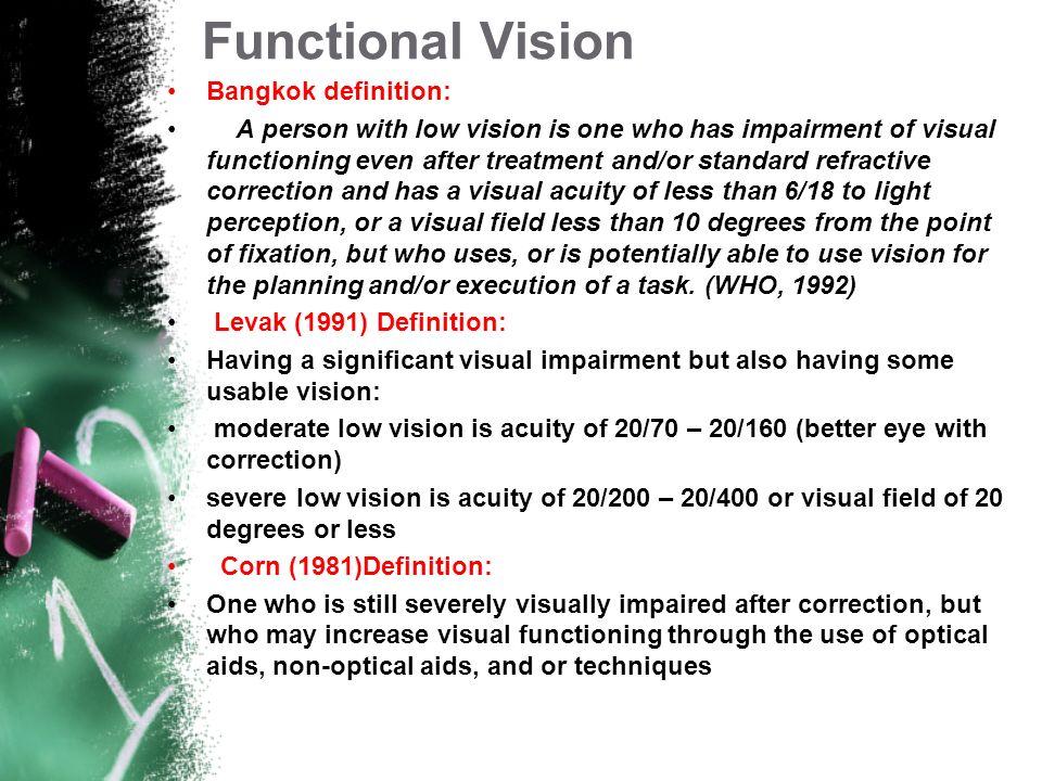 VAMin of ArcWHO Definition 20/201 minNormal 20/402 minmild LV 20/603 minWHO definition LV 20/703.5minMod LV 20/20010 minSevere LV 20/40020 minProfound