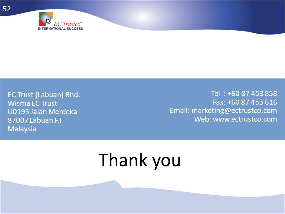 EC Trust (Labuan) Bhd. Wisma EC Trust U0195 Jalan Merdeka 87007 Labuan F.T Malaysia Tel : +60 87 453 858 Fax: +60 87 453 616 Email: marketing@ectrustc