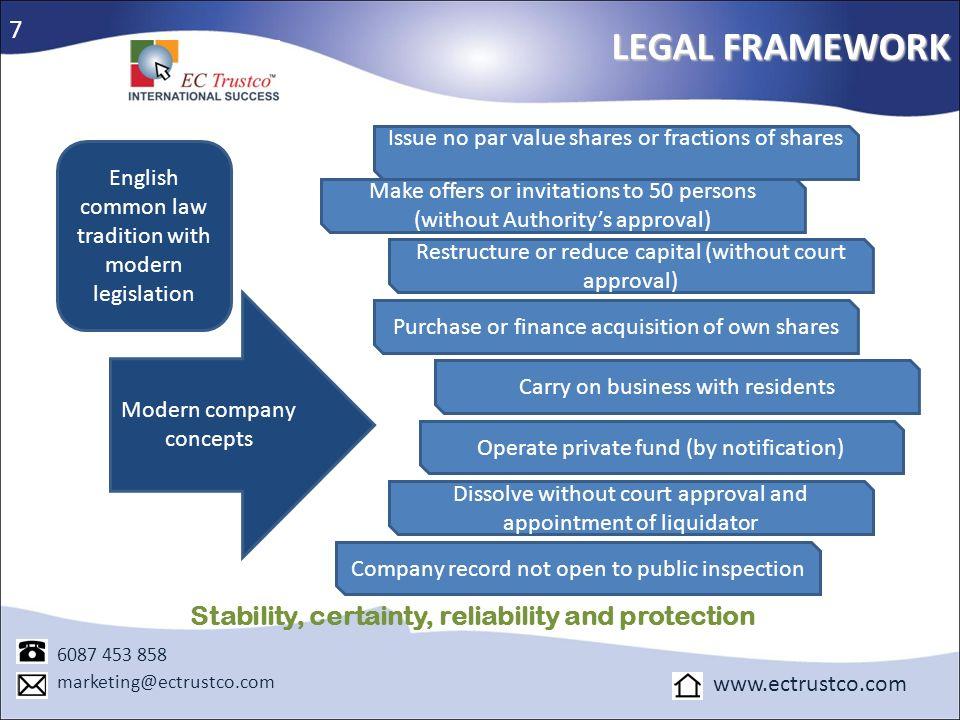 LEGAL FRAMEWORK 6087 453 858 marketing@ectrustco.com www.ectrustco.com 7 Modern company concepts English common law tradition with modern legislation