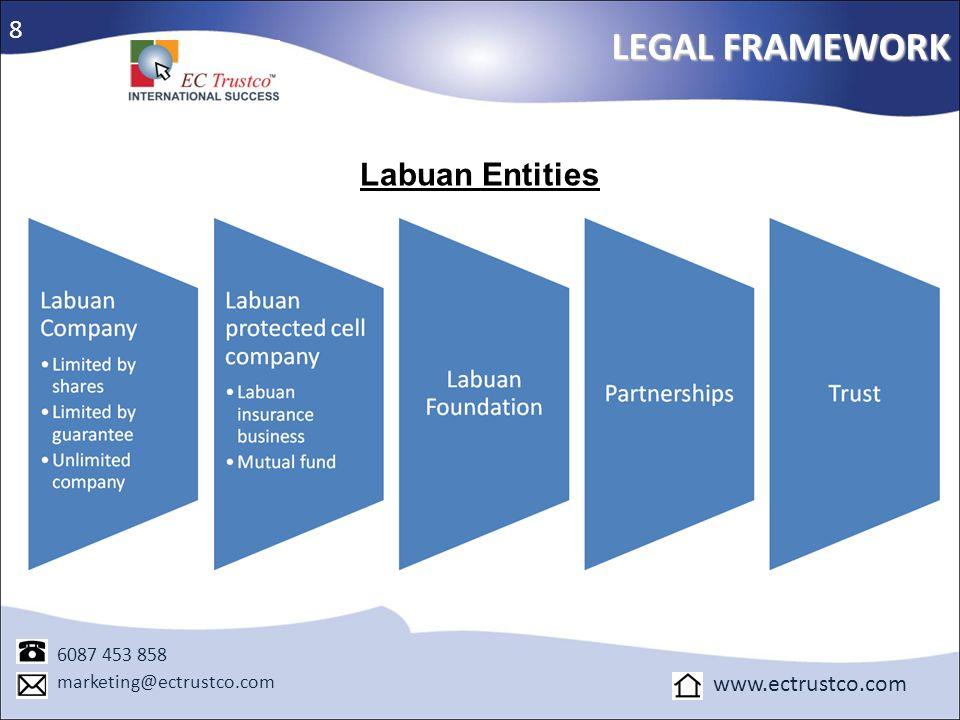 Labuan Entities LEGAL FRAMEWORK 6087 453 858 marketing@ectrustco.com www.ectrustco.com 8