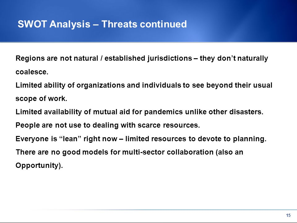 14 SWOT Analysis – Threats Inertia of many organizations to do disaster planning.