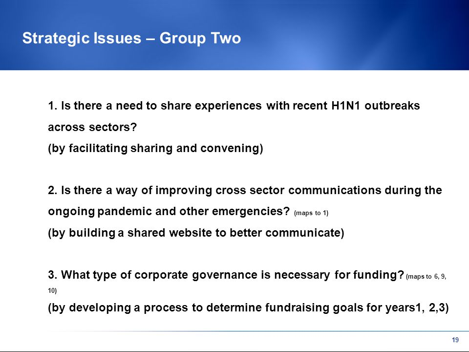 18 Strategic Issues – Group One 1. How do we improve cross sector communications.