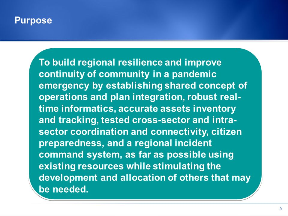 4 Revised Mission A sustained representative cross sector group that develops an effective network to build collaboration and interaction among and within sectors to prepare and respond to pandemic and other large scale emergencies within the Greater San Francisco Bay Area