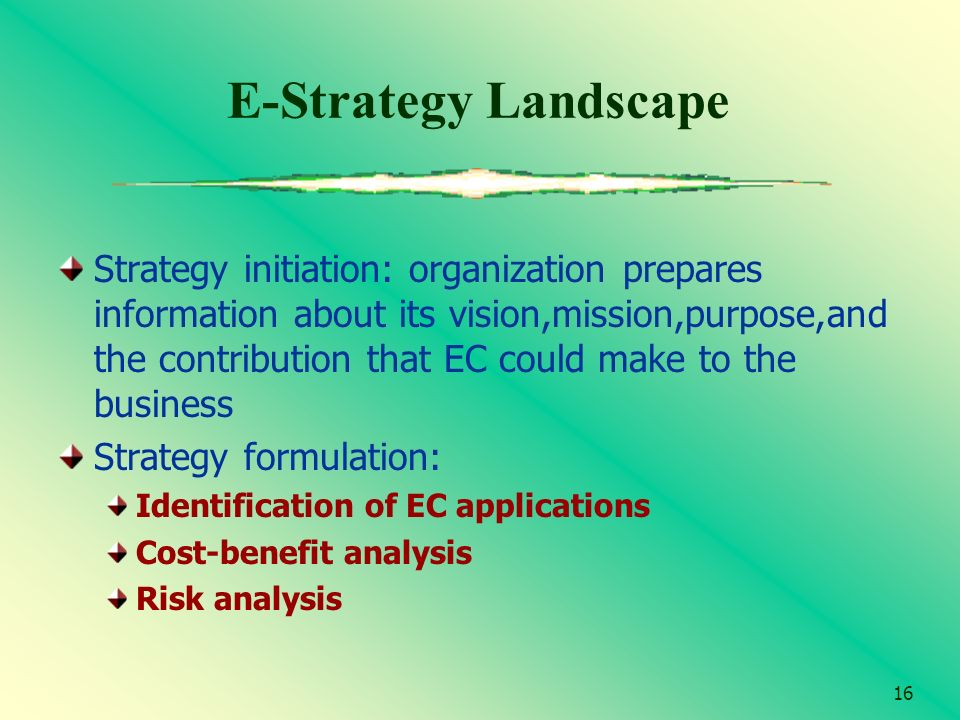 16 E-Strategy Landscape Strategy initiation: organization prepares information about its vision,mission,purpose,and the contribution that EC could mak