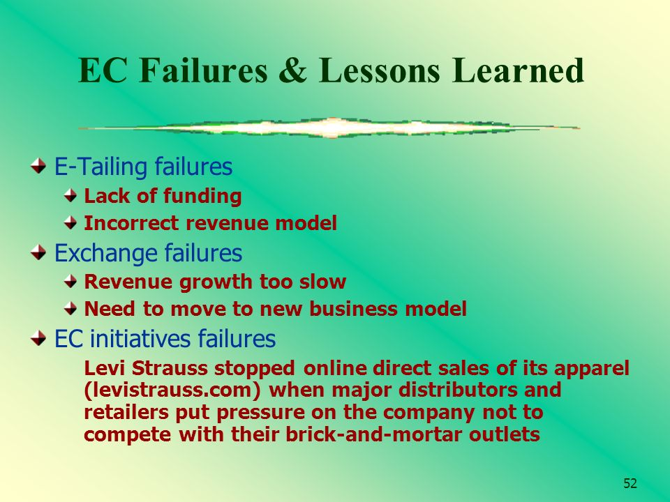 52 EC Failures & Lessons Learned E-Tailing failures Lack of funding Incorrect revenue model Exchange failures Revenue growth too slow Need to move to