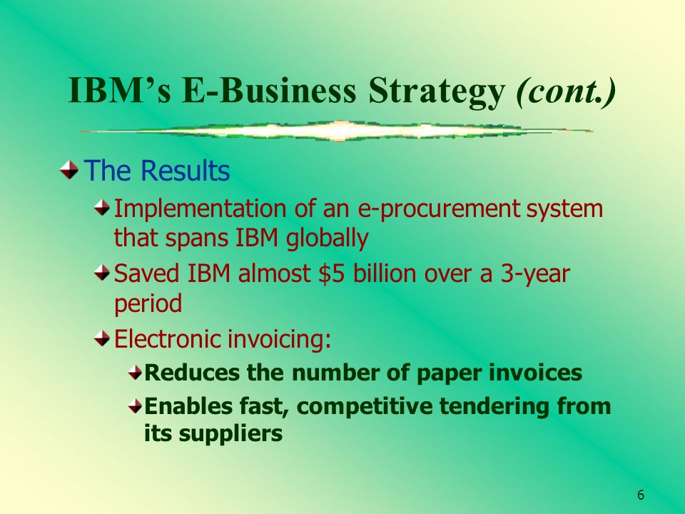6 IBMs E-Business Strategy (cont.) The Results Implementation of an e-procurement system that spans IBM globally Saved IBM almost $5 billion over a 3-