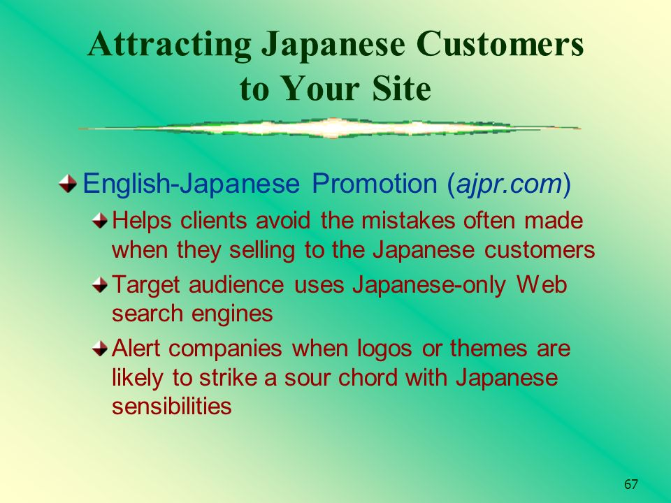 67 Attracting Japanese Customers to Your Site English-Japanese Promotion (ajpr.com) Helps clients avoid the mistakes often made when they selling to t
