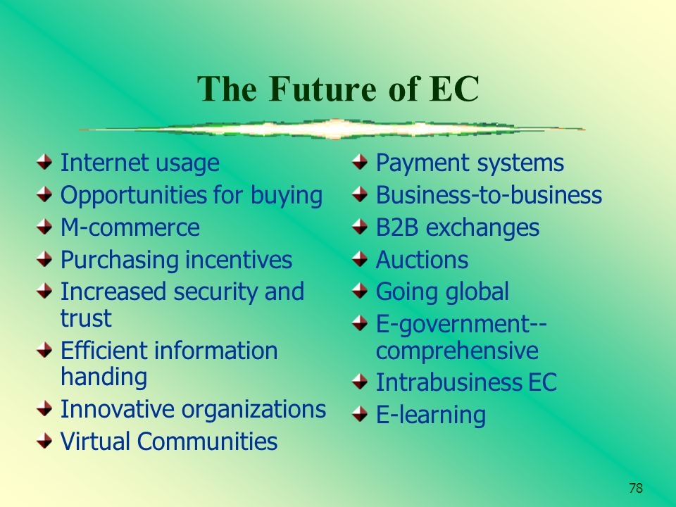 78 The Future of EC Internet usage Opportunities for buying M-commerce Purchasing incentives Increased security and trust Efficient information handin