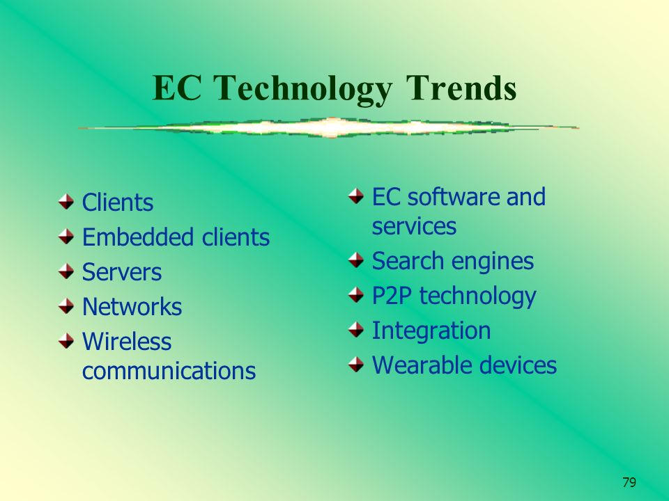 79 EC Technology Trends Clients Embedded clients Servers Networks Wireless communications EC software and services Search engines P2P technology Integ