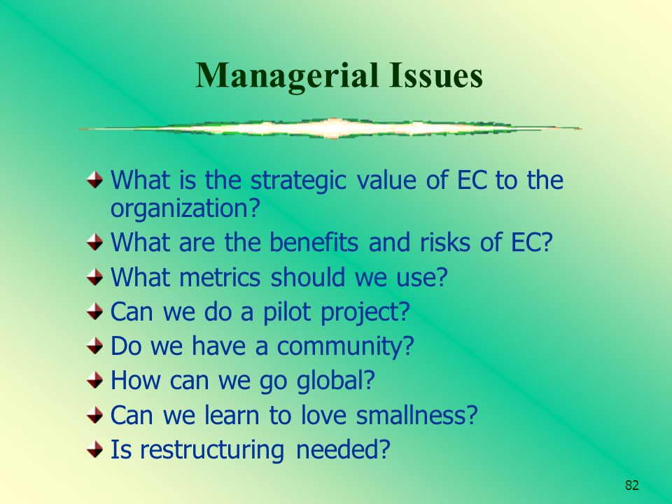 82 Managerial Issues What is the strategic value of EC to the organization? What are the benefits and risks of EC? What metrics should we use? Can we