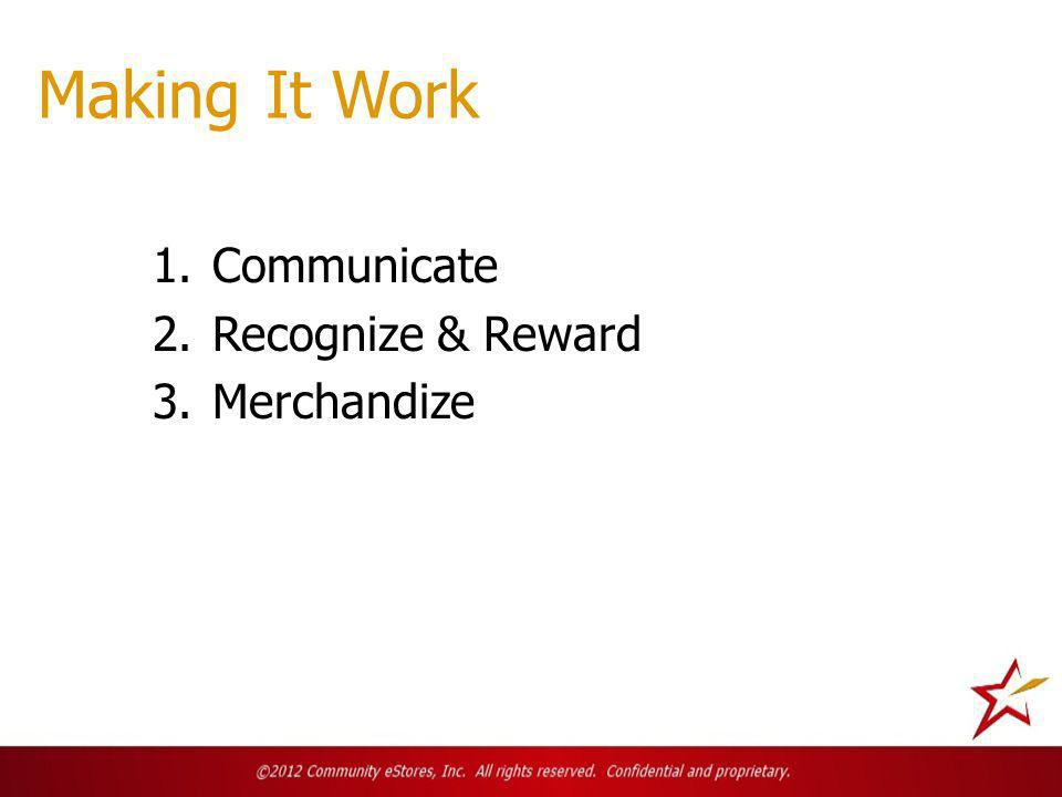 Making It Work 1.Communicate 2.Recognize & Reward 3.Merchandize