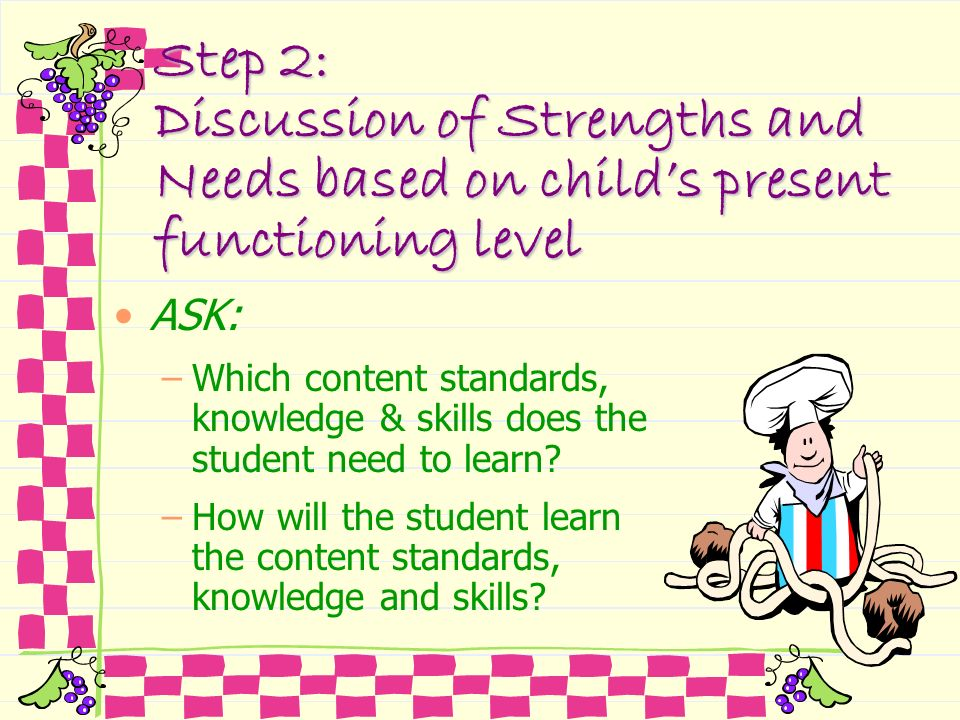 Step 2: Discussion of Strengths and Needs based on childs present functioning level ASK: –Which content standards, knowledge & skills does the student