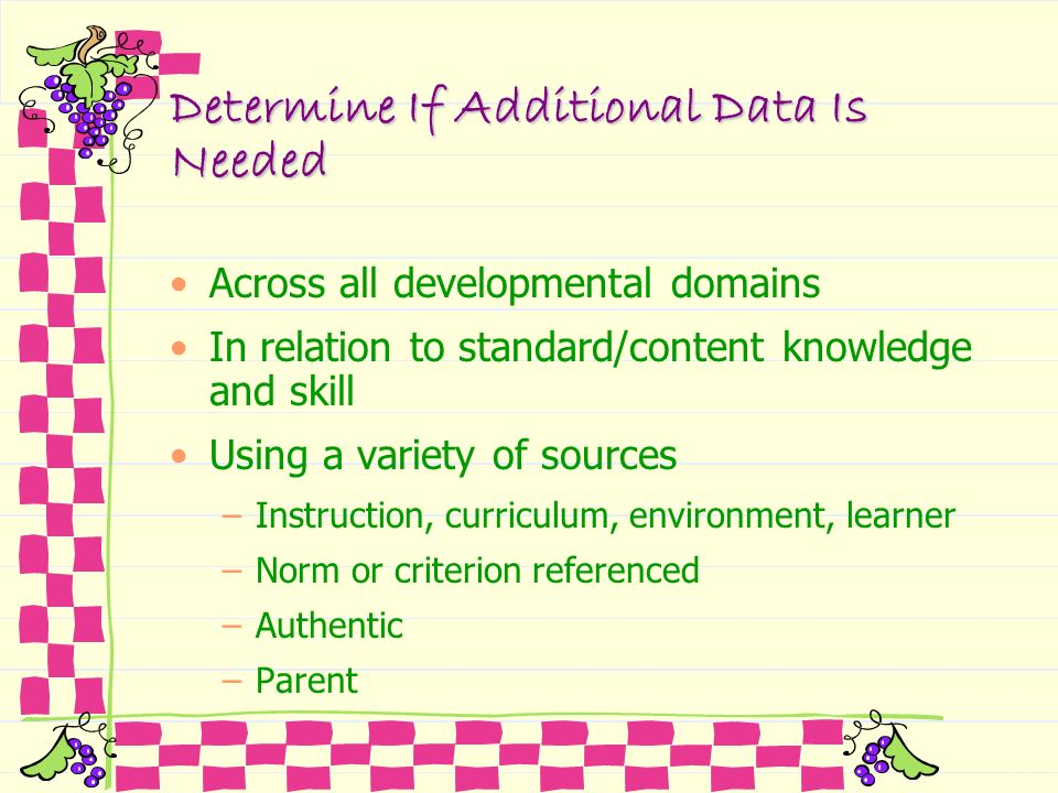 Determine If Additional Data Is Needed Across all developmental domains In relation to standard/content knowledge and skill Using a variety of sources