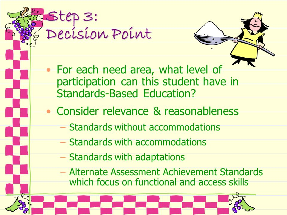 Step 3: Decision Point For each need area, what level of participation can this student have in Standards-Based Education? Consider relevance & reason
