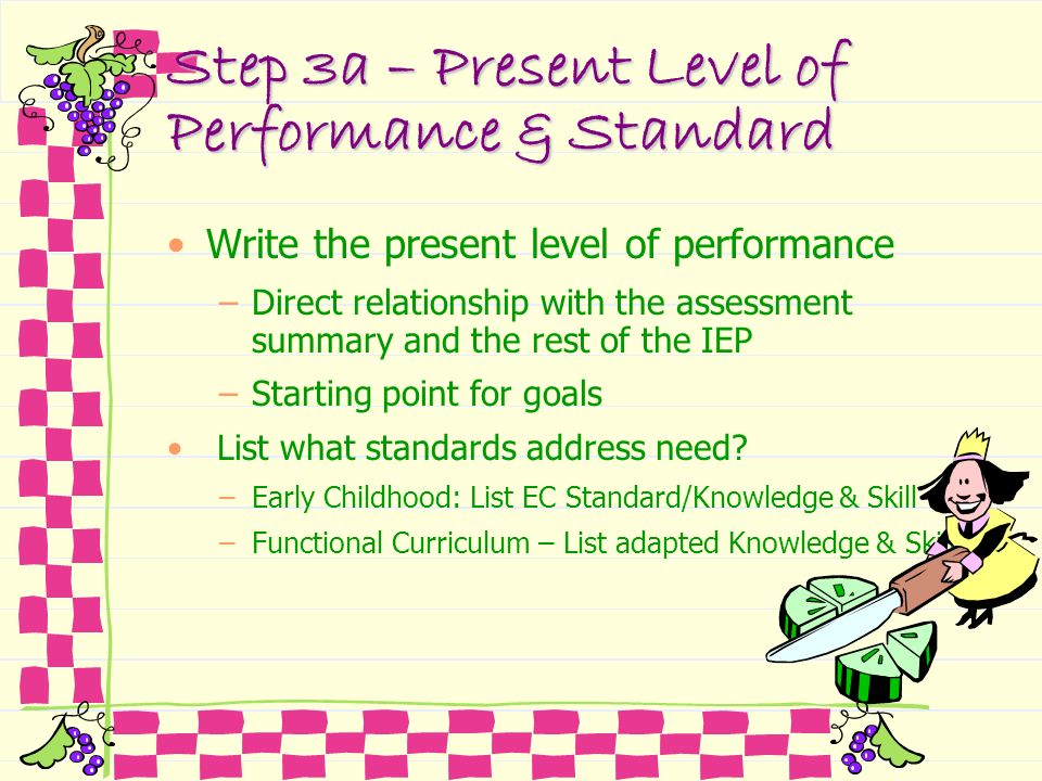 Step 3a – Present Level of Performance & Standard Write the present level of performance –Direct relationship with the assessment summary and the rest