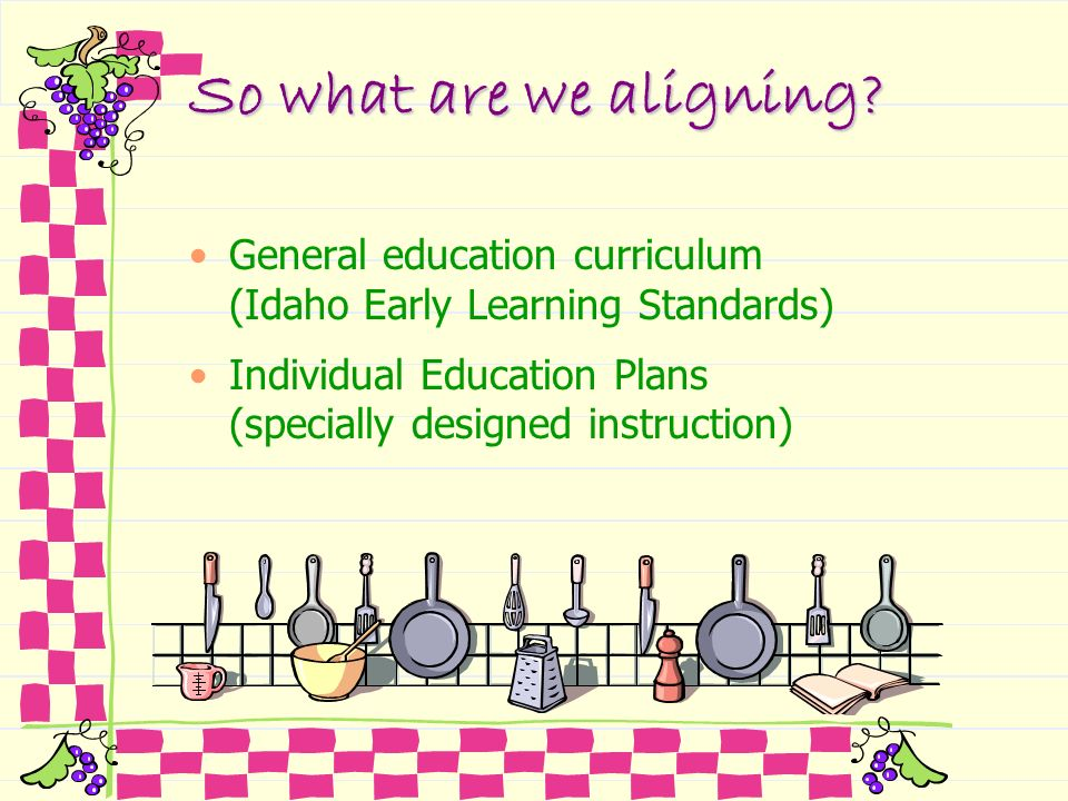So what are we aligning? General education curriculum (Idaho Early Learning Standards) Individual Education Plans (specially designed instruction)
