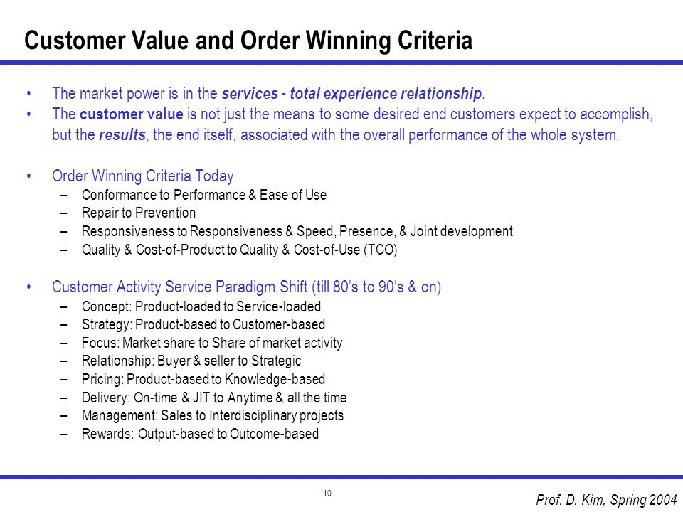 Prof. D. Kim, Spring 2004 10 Customer Value and Order Winning Criteria The market power is in the services - total experience relationship. The custom