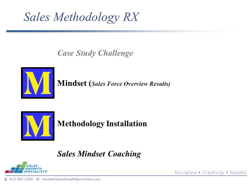 Sales Methodology RX Case Study Challenge Mindset ( Sales Force Overview Results) Methodology Installation Sales Mindset Coaching