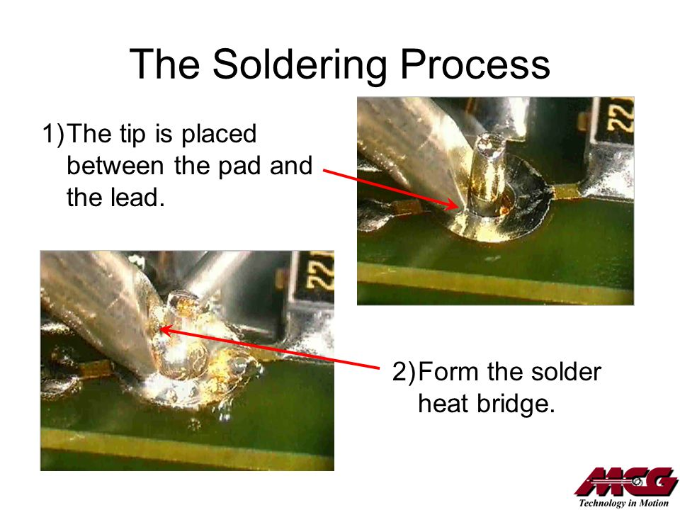 The Soldering Process 2)Form the solder heat bridge. 1)The tip is placed between the pad and the lead.