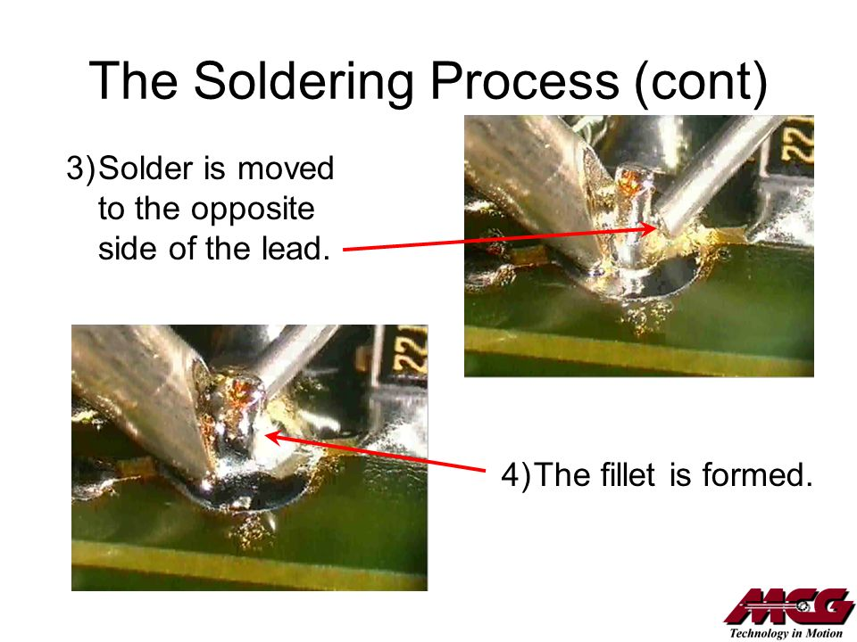 The Soldering Process (cont) 3)Solder is moved to the opposite side of the lead. 4)The fillet is formed.