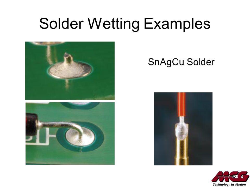 Solder Wetting Examples SnAgCu Solder