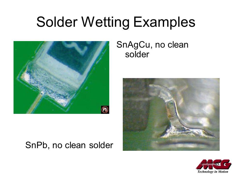 Solder Wetting Examples SnPb, no clean solder SnAgCu, no clean solder
