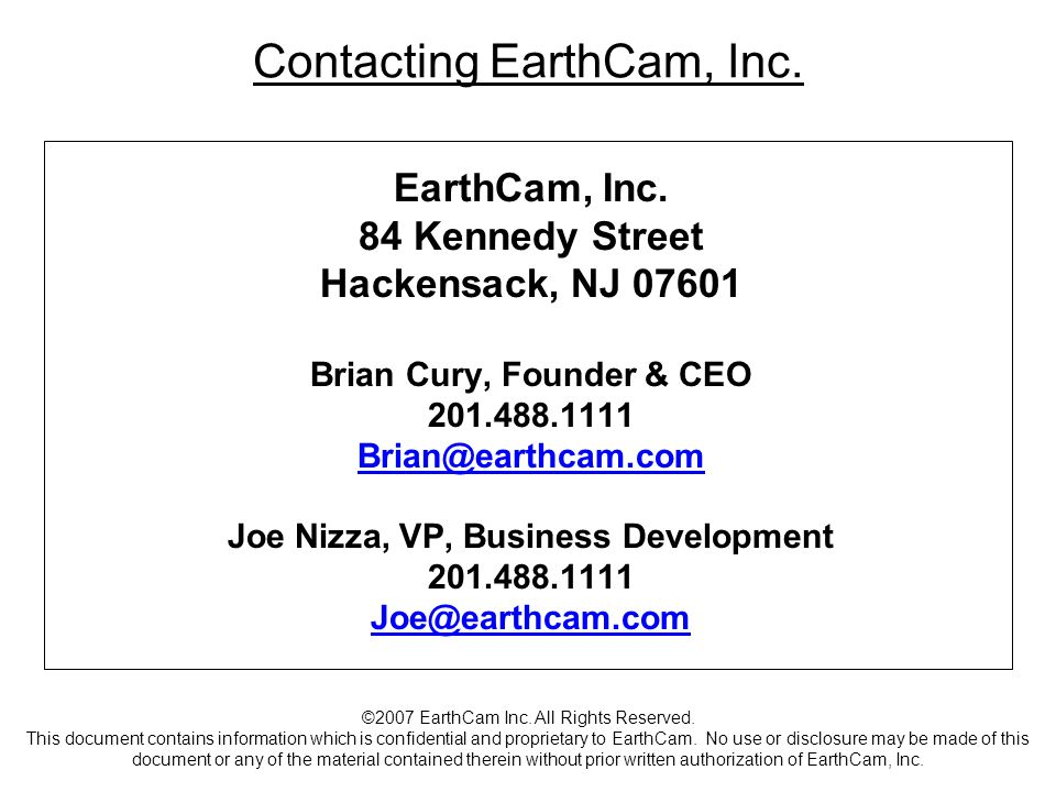 Contacting EarthCam, Inc.EarthCam, Inc.