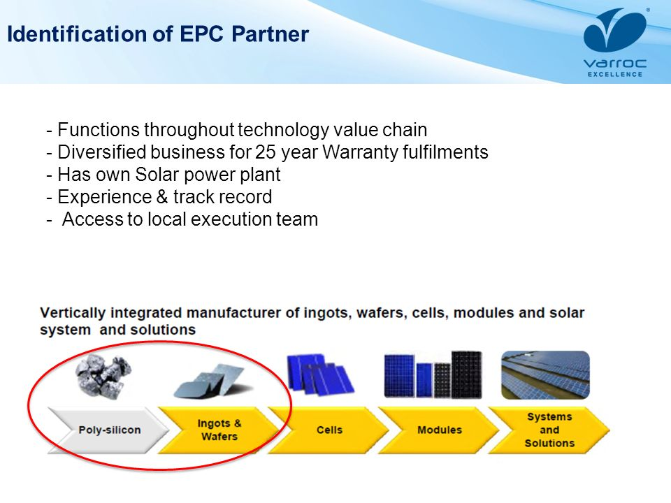 Identification of EPC Partner - Functions throughout technology value chain - Diversified business for 25 year Warranty fulfilments - Has own Solar po