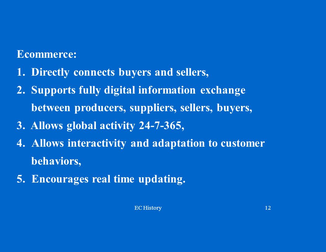 EC History12 Ecommerce: 1.Directly connects buyers and sellers, 2.