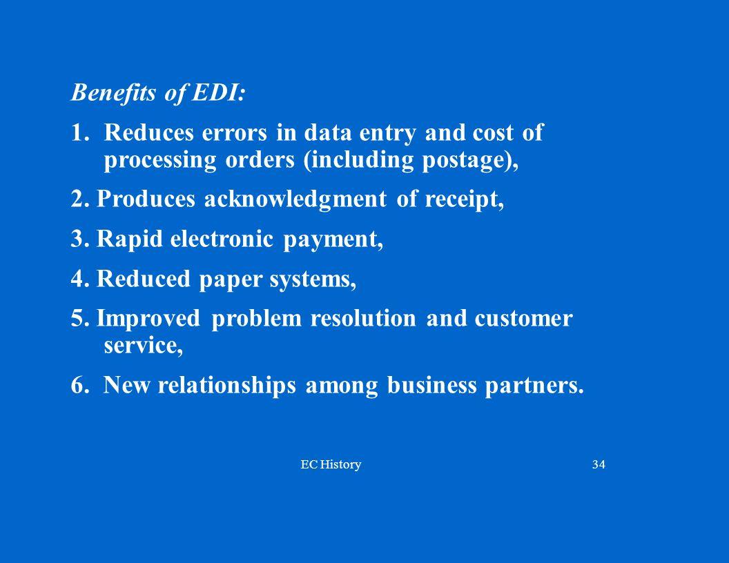 EC History34 Benefits of EDI: 1.