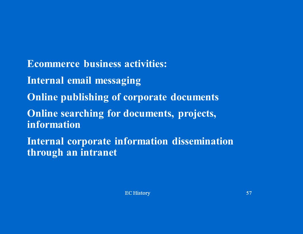 EC History57 Ecommerce business activities: Internal email messaging Online publishing of corporate documents Online searching for documents, projects, information Internal corporate information dissemination through an intranet