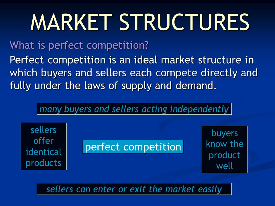 MARKET STRUCTURES What is perfect competition.