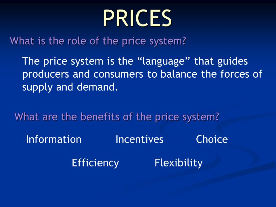 PRICES What is the role of the price system.