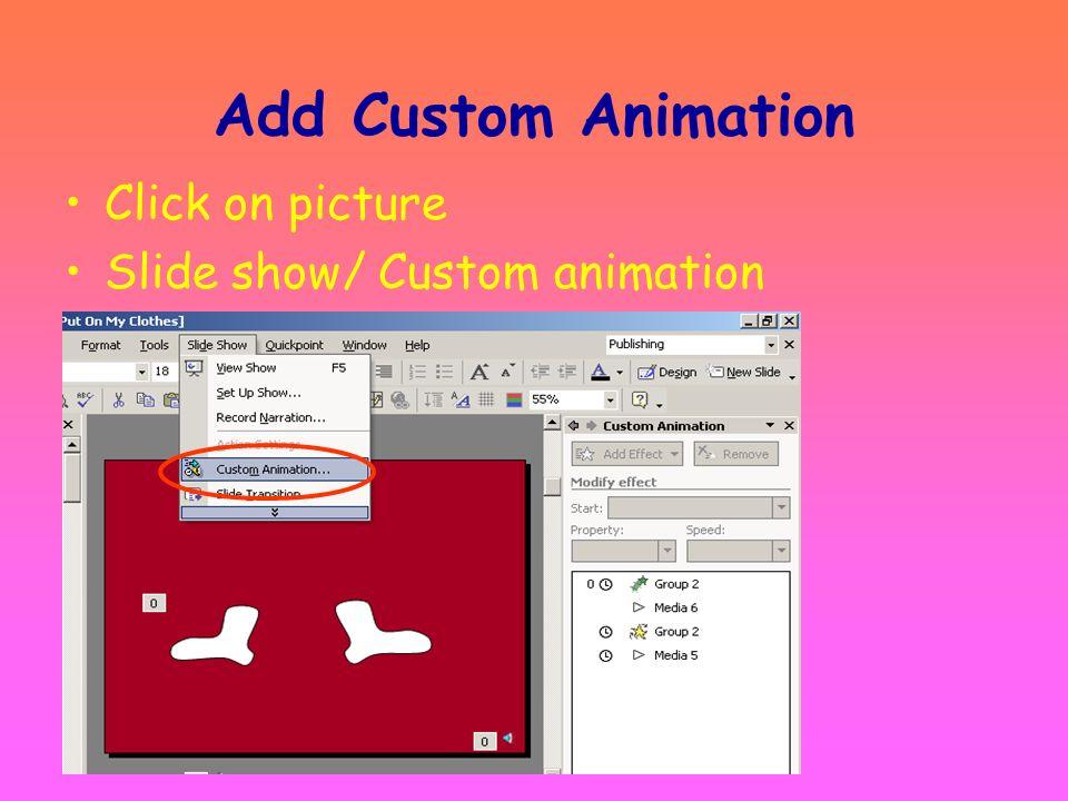 Add Preset Animation Slide Show/Animation Schemes Select animation