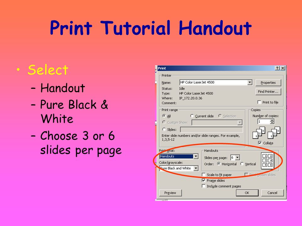 The Tutorial may be used on the computer as a PowerPoint slide show or printed as a handout. A basic knowledge of PowerPoint and editing skills and wo