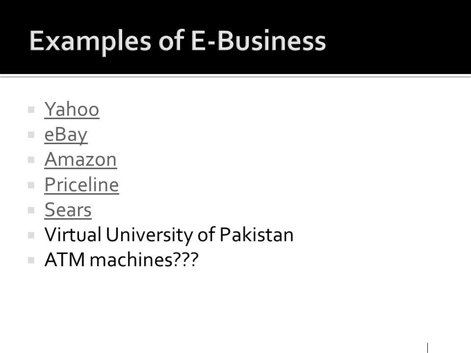 Yahoo eBay Amazon Priceline Sears Virtual University of Pakistan ATM machines???
