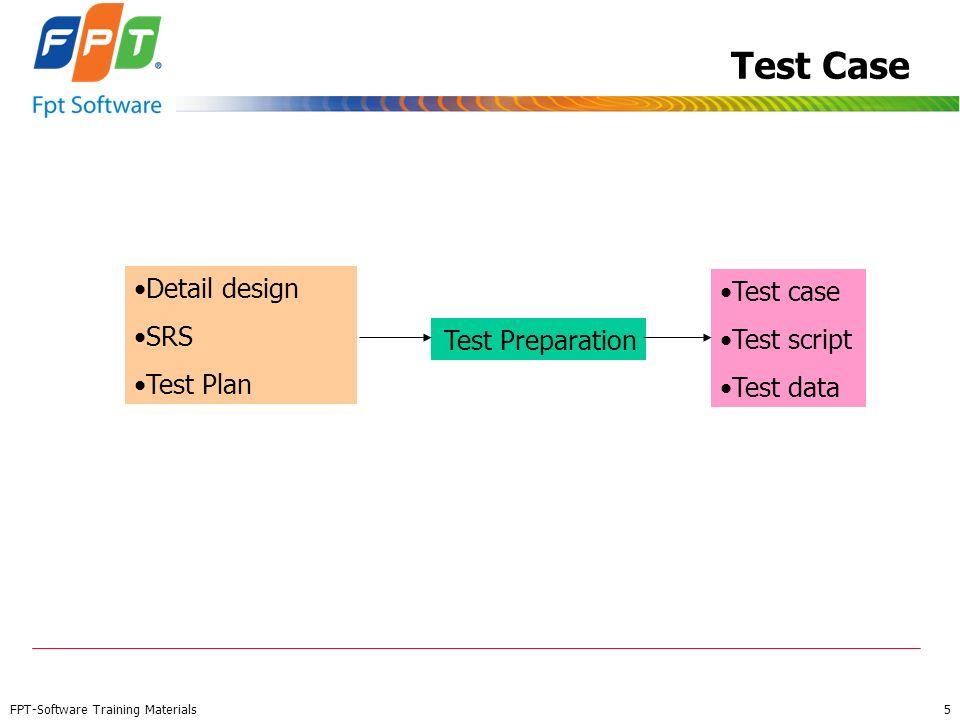 FPT-Software Training Materials 5 Test Case Test Preparation Detail design SRS Test Plan Test case Test script Test data